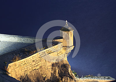 Alicante castle at night. Spain
