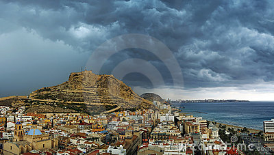 Alicante city before storm