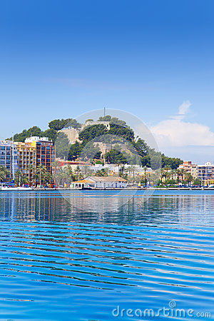 Alicante Denia view from blue calm sea