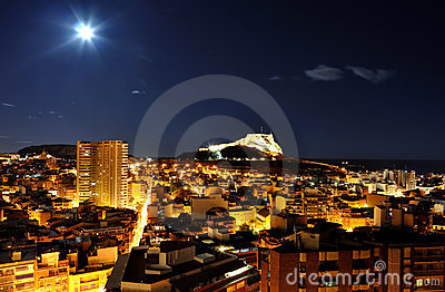 Alicante at night with castle