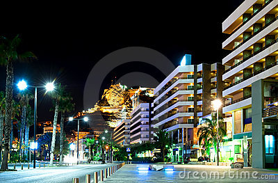 Alicante at night. Spain