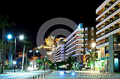 Alicante at night. Spain