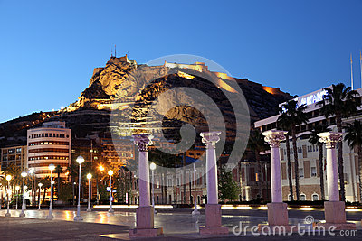 Alicante at night, Spain Editorial Stock Photo