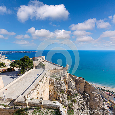 Alicante Postiguet beach view from Castle