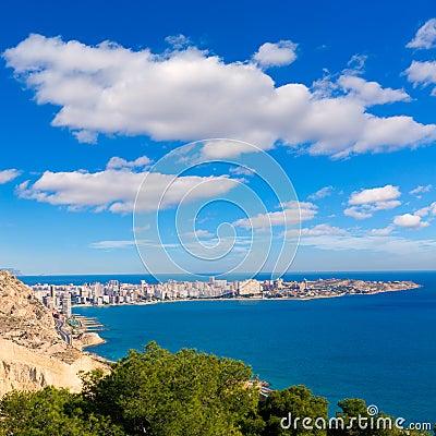 Alicante San Juan beach view from  Castle