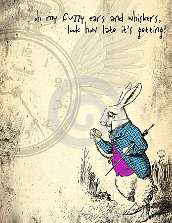 Free Alice In Wonderland Distressed Grunge Paper - March Hare - Whimsical Pocket Watch Scrapbook Paper Stock Photos - 110741173