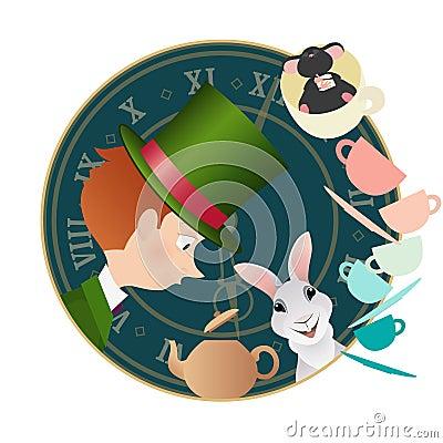 Free Alice In Wonderland. Mad Tea Party. Hatter, Dormouse, White Rabbit. Stock Image - 80405421