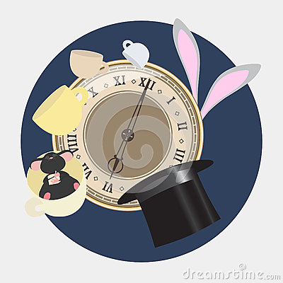 Free Alice In Wonderland. Mad Tea Party With Hatter, Dormouse, White Rabbit. Alice In Wonderland. Retro Illustration. Royalty Free Stock Images - 67204899