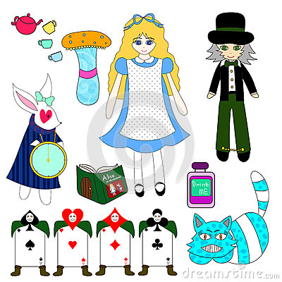 Free Alice In Wonderland  On White Background Stock Image - 63565461