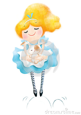 Free Alice In Wonderland With White Rabbit Royalty Free Stock Images - 42086569