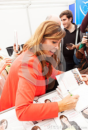 Alicia Sanchez-Camacho giving autograph on the book Editorial Photo