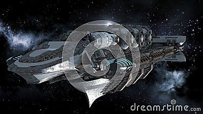 Alien battleship in deep space travel