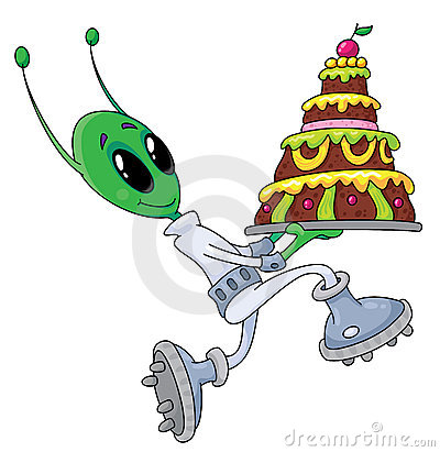 Alien with cake