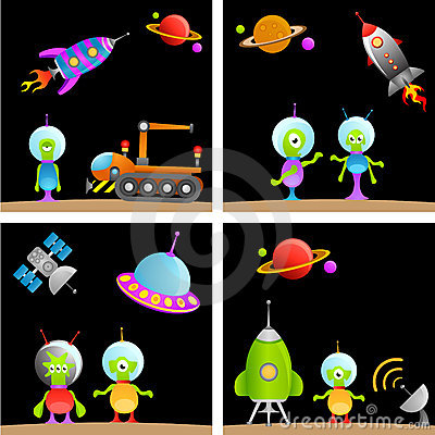Alien Cartoon Set Stock Images - Image: 17237074