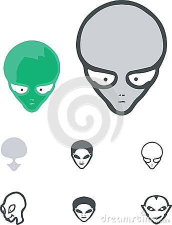 Alien cartoons vector set