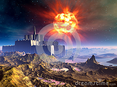 Alien Castle Fortress Under an Exploding Sun