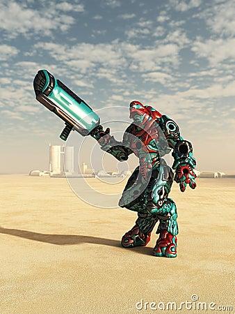 Alien Combat Droid in the Desert