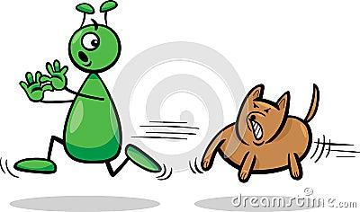 Alien and dog cartoon illustration