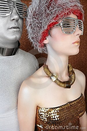 Alien futuristic couple portrait silver gold