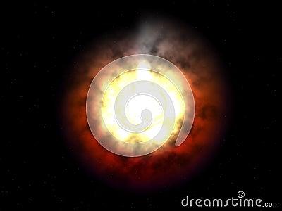 Alien galactic hot alien bright sun