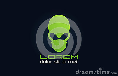 Alien green logo. Abstract character. Incognito.