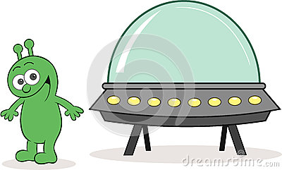 Alien Happy With Spaceship