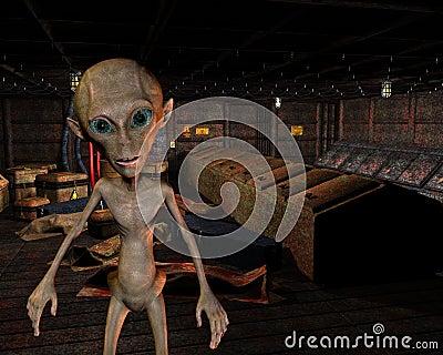 Alien in an old warehouse