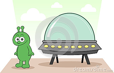 Alien Smiling With Spaceship