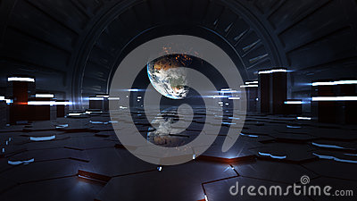 Alien Space Station Interior Observing Earth