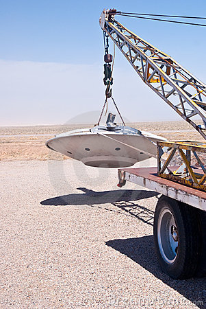Alien Spacecraft on Tow Truck Editorial Photography