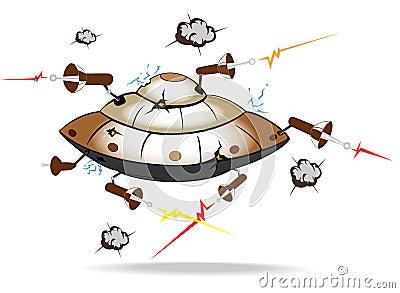 Alien spaceship under attack