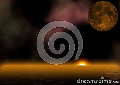 Alien sunrise over ocean