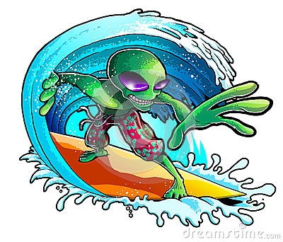 Alien Surfing Wave