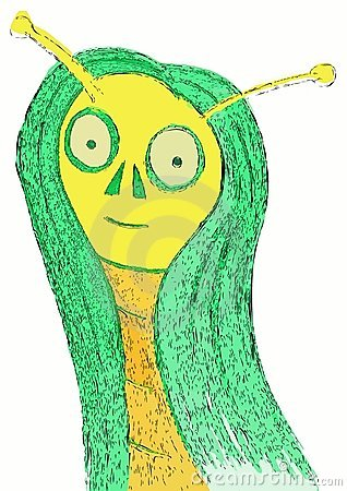 Isolated portrait of a cartoon alien woman