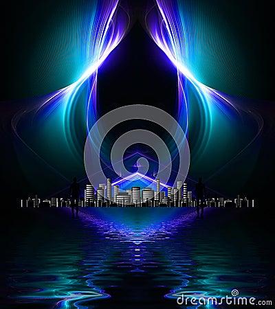 Aliens looking towards distant metropolis