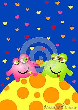 Aliens In Love Valentines Day Card