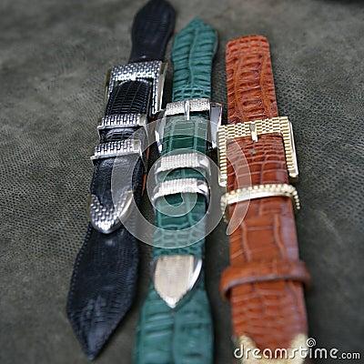 Free Aligator Leather Belts Royalty Free Stock Photo - 1941515