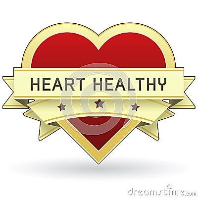 Alimento del corazón y escritura de la etiqueta o etiqueta engomada sana del producto