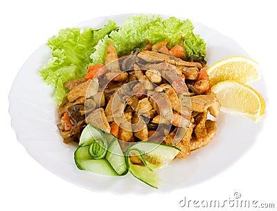 Alimento gastronomico con insalata