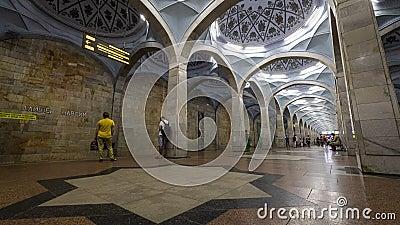 Alisher Navoi Subway Tahskent stock videobeelden