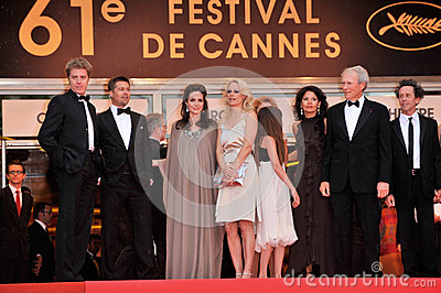 Alison Eastwood,Angelina Jolie,Brad Pitt,Brian Grazer,Clint Eastwood,Dina Eastwood,Kyle Eastwood Editorial Stock Image