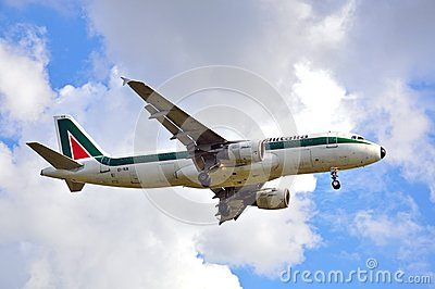 Alitalia airplane landing Editorial Stock Photo