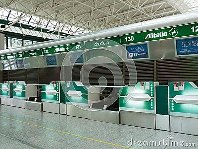 Alitalia check-in desks Editorial Stock Image
