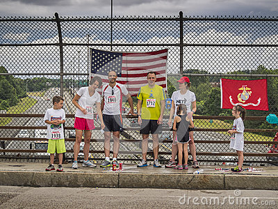 All American families on July 4th. Editorial Stock Photo