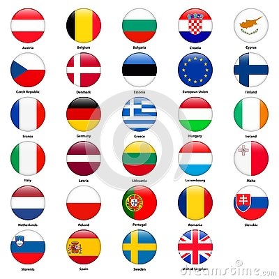 All flags of the countries of the European Union. Round glossy style Vector Illustration