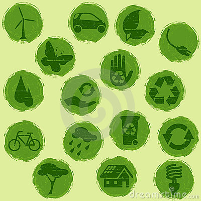 Free All-green Grunge Eco Buttons Stock Photography - 8864532