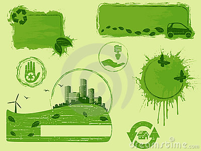 All-green grunge eco design elements