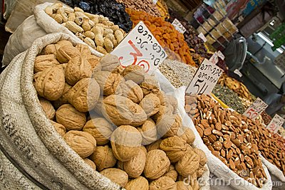 All kinds of nuts and raisins in Open Market