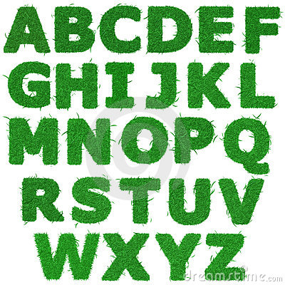 All letters of green grass alphabet