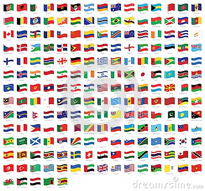 Free All National World Waving Flags With Names - High Quality Vector Flag Isolated On White Background Royalty Free Stock Images - 109473259